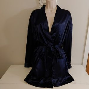 NWT Victoria's Secret vtg 90s navy blue satin robe